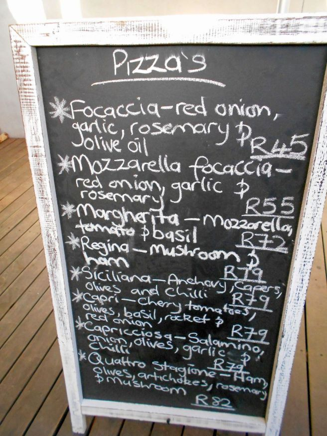 Asta Pizza Menu